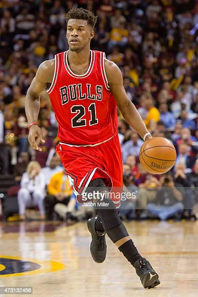 Jimmy Butler of the Chicago Bulls drives down court in the second half against the Cleveland Cavaliers during Game Five in the Eastern Conference...