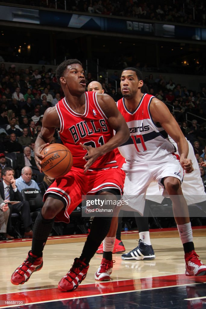 <a gi-track='captionPersonalityLinkClicked' href=/galleries/search?phrase=Jimmy+Butler+-+Basketball+Player&family=editorial&specificpeople=9860567 ng-click='$event.stopPropagation()'>Jimmy Butler</a> #21 of the Chicago Bulls drives to the basket against the Washington Wizards at the Verizon Center on April 2, 2013 in Washington, DC.