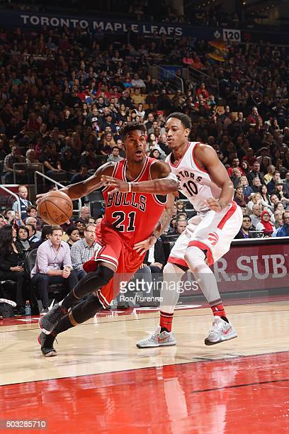 Jimmy Butler of the Chicago Bulls drives to the basket against the Toronto Raptors during the game on January 3 2016 at Air Canada Centre in Toronto...