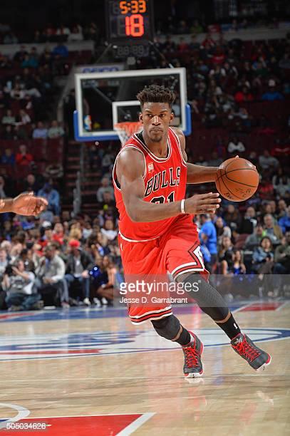 Jimmy Butler of the Chicago Bulls drives to the basket against the Philadelphia 76ers at Wells Fargo Center on January 14 2015 in Philadelphia...