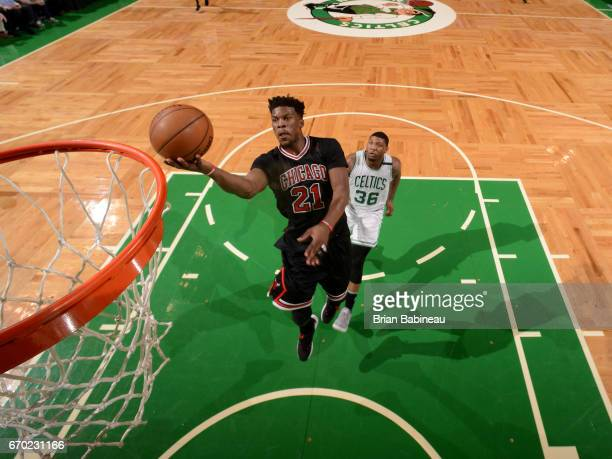 Jimmy Butler of the Chicago Bulls drives to the basket against the Boston Celtics during Game Two of the Eastern Conference Quarterfinals of the 2017...