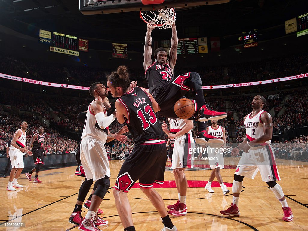 Jimmy Butler #21 of the Chicago Bulls dunks the ball against the Portland Trail Blazers on November 18, 2012 at the Rose Garden Arena in Portland, Oregon.