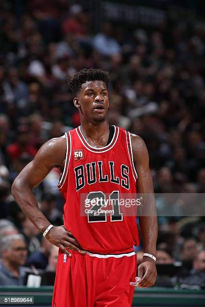 Jimmy Butler of the Chicago Bulls during the game against the Milwaukee Bucks on April 3 2016 at the BMO Harris Bradley Center in Milwaukee Wisconsin...