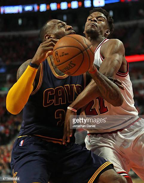 Jimmy Butler of the Chicago Bulls fouls LeBron James of the Cleveland Cavaliers in Game Four of the Eastern Conference Semifinals of the 2015 NBA...