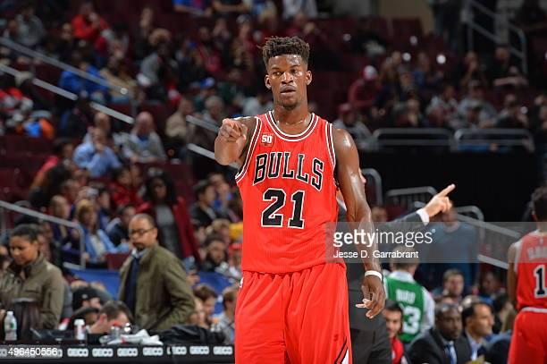 Jimmy Butler of the Chicago Bulls gives direction against the Philadelphia 76ers at Wells Fargo Center on November 9 2015 in Philadelphia...