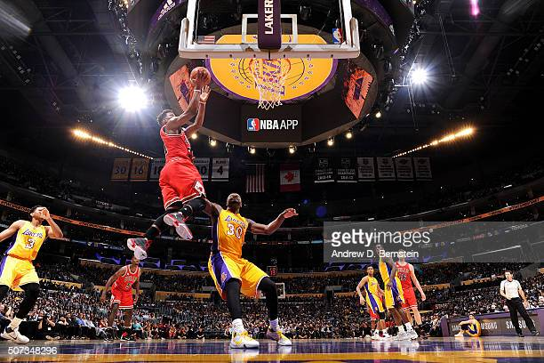 Jimmy Butler of the Chicago Bulls goes for the layup during the game against the Los Angeles Lakers on January 28 2016 at STAPLES Center in Los...