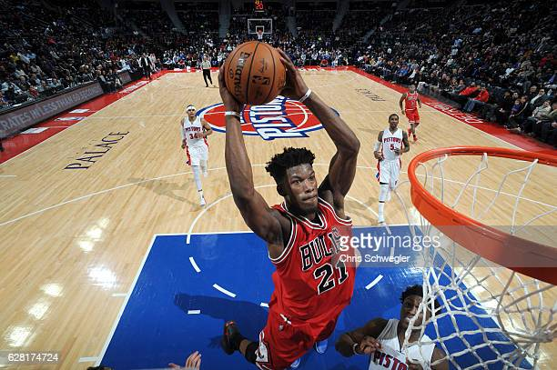 Jimmy Butler of the Chicago Bulls goes up for a dunk against the Detroit Pistons on December 6 2016 at The Palace of Auburn Hills in Auburn Hills...