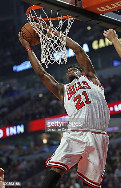Jimmy Butler of the Chicago Bulls goes up for a shot against the Phoenix Suns at the United Center on December 7 2015 in Chicago Illinois NOTE TO...