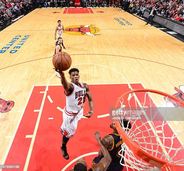 Jimmy Butler of the Chicago Bulls goes up for the layup against the Cleveland Cavaliers at the United Center During Game Six of the Eastern...
