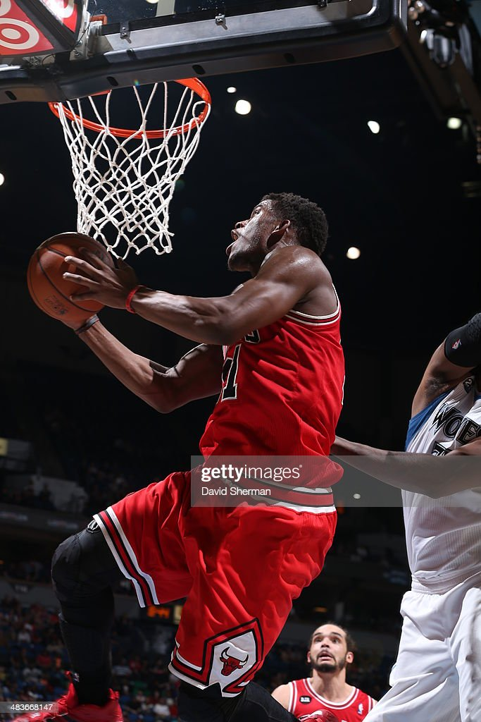 Jimmy Butler #21 of the Chicago Bulls goes up for the layup against the Minnesota Timberwolves during the game on April 9, 2014 at Target Center in Minneapolis, Minnesota.