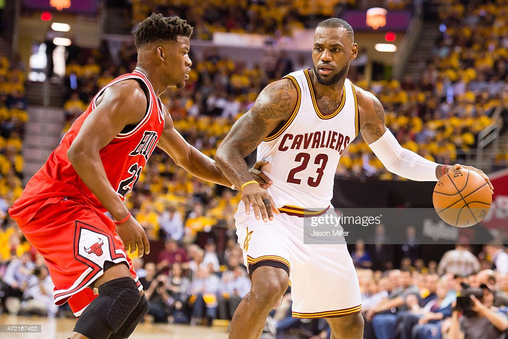 <a gi-track='captionPersonalityLinkClicked' href=/galleries/search?phrase=Jimmy+Butler+-+Basketball+Player&family=editorial&specificpeople=9860567 ng-click='$event.stopPropagation()'>Jimmy Butler</a> #21 of the Chicago Bulls guards <a gi-track='captionPersonalityLinkClicked' href=/galleries/search?phrase=LeBron+James&family=editorial&specificpeople=201474 ng-click='$event.stopPropagation()'>LeBron James</a> #23 of the Cleveland Cavaliers in the first half during Game One in the Eastern Conference Semifinals of the 2015 NBA Playoffs 2015 at Quicken Loans Arena on May 4, 2015 in Cleveland, Ohio.