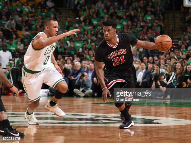 Jimmy Butler of the Chicago Bulls handles the ball against Avery Bradley of the Boston Celtics during Game Two of the Eastern Conference...