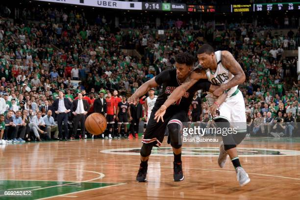 Jimmy Butler of the Chicago Bulls handles the ball against the Boston Celtics during the Eastern Conference Quarterfinals of the 2017 NBA Playoffs on...