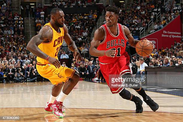 Jimmy Butler of the Chicago Bulls handles the ball against the Cleveland Cavaliers in Game Five of the Eastern Conference Semifinals of the NBA...