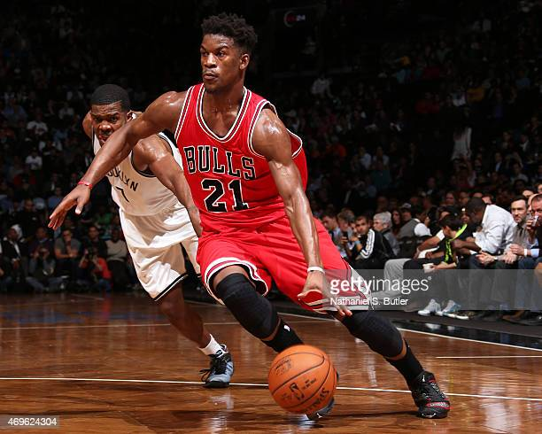 Jimmy Butler of the Chicago Bulls handles the ball against the Brooklyn Nets on April 13 2015 at the Barclays Center in the Brooklyn borough of New...