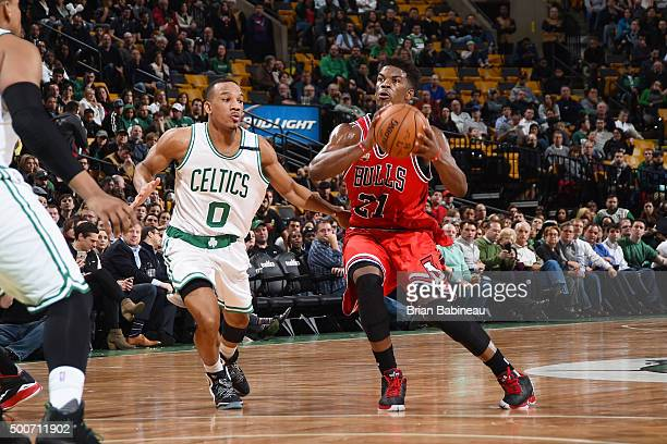 Jimmy Butler of the Chicago Bulls handles the ball during the game against the Boston Celtics on December 9 2015 at the TD Garden in Boston...