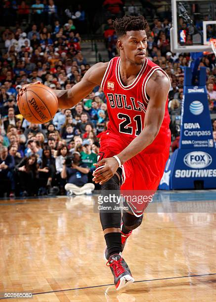 Jimmy Butler of the Chicago Bulls handles the ball during the game against the Dallas Mavericks on December 26 2015 at the American Airlines Center...
