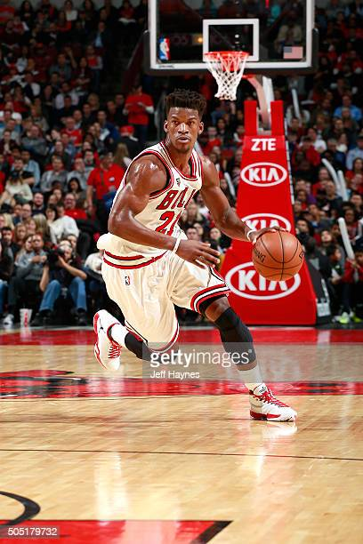 Jimmy Butler of the Chicago Bulls handles the ball during the game against the Dallas Mavericks on January 15 2016 at the United Center in Chicago...