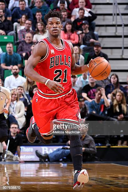 Jimmy Butler of the Chicago Bulls handles the ball during the game against the Utah Jazz on February 1 2016 at EnergySolutions Arena in Salt Lake...