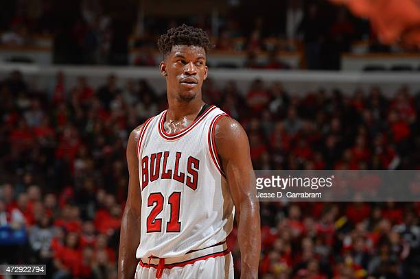 Jimmy Butler of the Chicago Bulls looks on against the Cleveland Cavaliers at the United Center During Game Four of the Eastern Conference Semifinals...