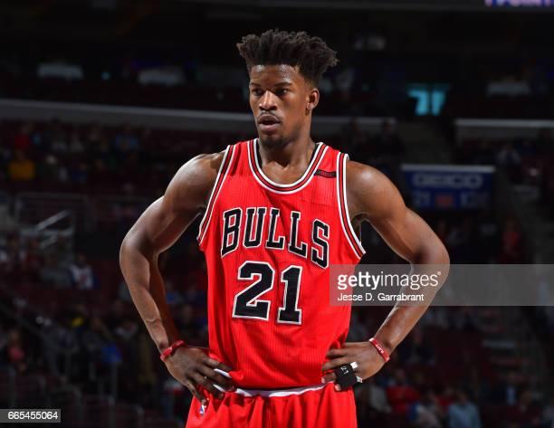 Jimmy Butler of the Chicago Bulls looks on against the Philadelphia 76ers at Wells Fargo Center on April 6 2017 in Philadelphia Pennsylvania NOTE TO...