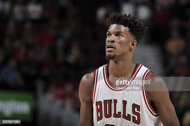 Jimmy Butler of the Chicago Bulls looks on during a game against the Cleveland Cavaliers on January 4 2017 at Quicken Loans Arena in Cleveland Ohio...