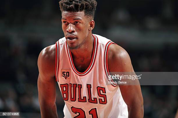 Jimmy Butler of the Chicago Bulls looks on during the game against the Philadelphia 76ers on December 14 2015 at the United Center in Chicago...