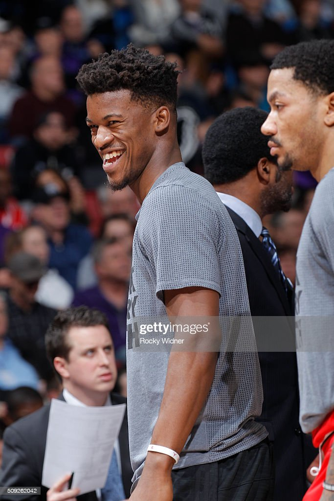 <a gi-track='captionPersonalityLinkClicked' href=/galleries/search?phrase=Jimmy+Butler+-+Basketbalspeler&family=editorial&specificpeople=9860567 ng-click='$event.stopPropagation()'>Jimmy Butler</a> #21 of the Chicago Bulls looks on during the game against the Sacramento Kings on February 3, 2016 at Sleep Train Arena in Sacramento, California.