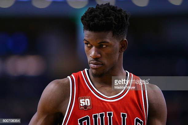 Jimmy Butler of the Chicago Bulls looks on during the second half against the Boston Celtics at TD Garden on December 9 2015 in Boston Massachusetts...