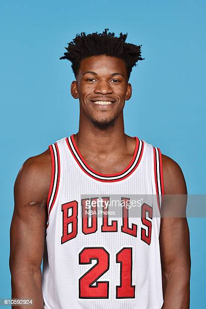 Jimmy Butler of the Chicago Bulls poses for a head shot during the 20162017 Chicago Bulls Media Day on September 26 2016 at the Advocate Center in...