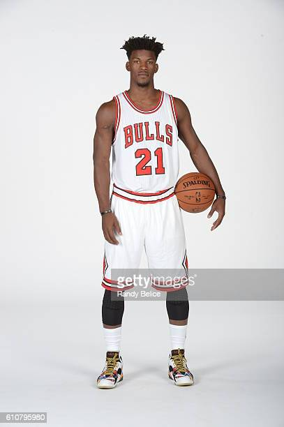 Jimmy Butler of the Chicago Bulls poses for a portrait during the 20162017 Chicago Bulls Media Day on September 26 2016 at the Advocate Center in...