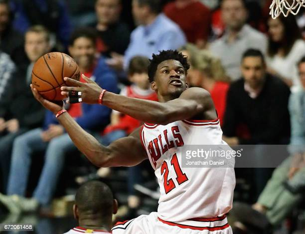 Jimmy Butler of the Chicago Bulls puts up a shot on his way to a teamhigh 33 points against the Boston Celtics during Game Four of the Eastern...