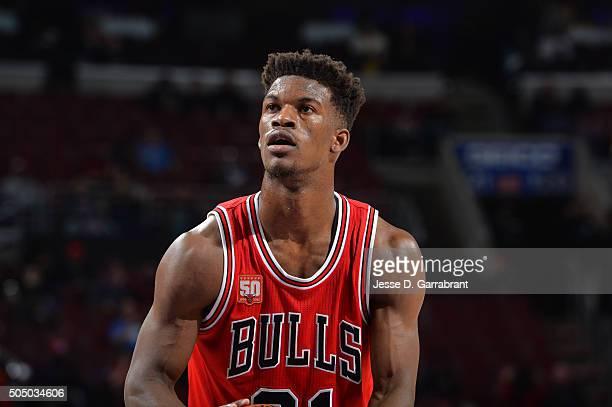 Jimmy Butler of the Chicago Bulls shoots a foul shot against the Philadelphia 76ers at Wells Fargo Center on January 14 2015 in Philadelphia...