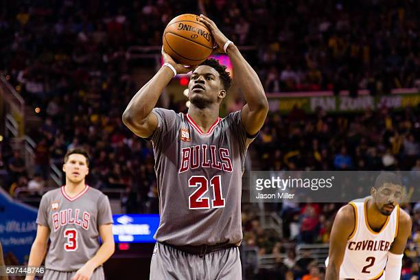 Jimmy Butler of the Chicago Bulls shoots a free throw during the second half against the Cleveland Cavaliers at Quicken Loans Arena on January 23...