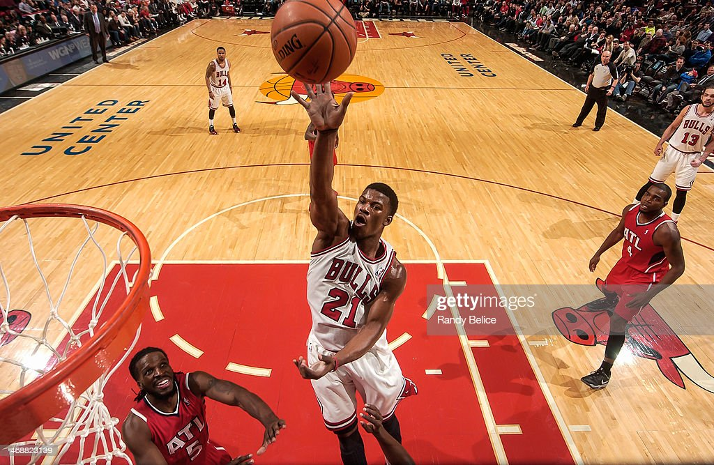<a gi-track='captionPersonalityLinkClicked' href=/galleries/search?phrase=Jimmy+Butler+-+Basketball+Player&family=editorial&specificpeople=9860567 ng-click='$event.stopPropagation()'>Jimmy Butler</a> #21 of the Chicago Bulls shoots against the Atlanta Hawks on February 11, 2013 at the United Center in Chicago, Illinois.