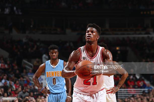 Jimmy Butler of the Chicago Bulls shoots against the Denver Nuggets during the game on December 2 2015 at United Center in Chicago Illinois NOTE TO...