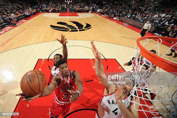 Jimmy Butler of the Chicago Bulls shoots against the Toronto Raptors during the game on January 3 2016 at Air Canada Centre in Toronto Canada NOTE TO...
