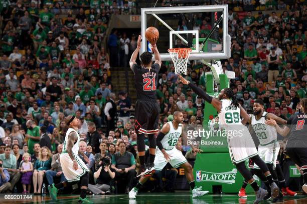 Jimmy Butler of the Chicago Bulls shoots the ball against the Boston Celtics during the Eastern Conference Quarterfinals of the 2017 NBA Playoffs on...