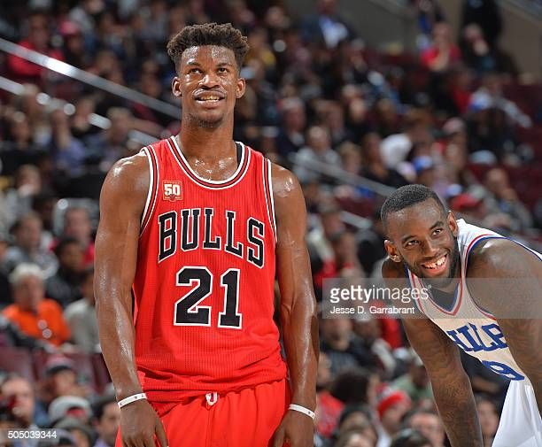 Jimmy Butler of the Chicago Bulls smiles while dropping 53 points against the Philadelphia 76ers at Wells Fargo Center on January 14 2015 in...
