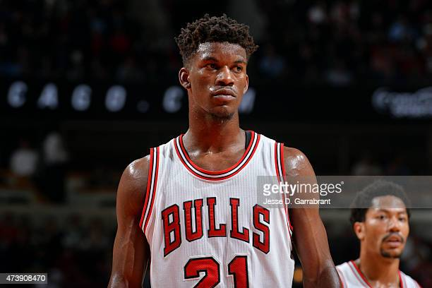 Jimmy Butler of the Chicago Bulls stands on the court during a game against the Cleveland Cavaliers in Game Six of the Eastern Conference Semifinals...