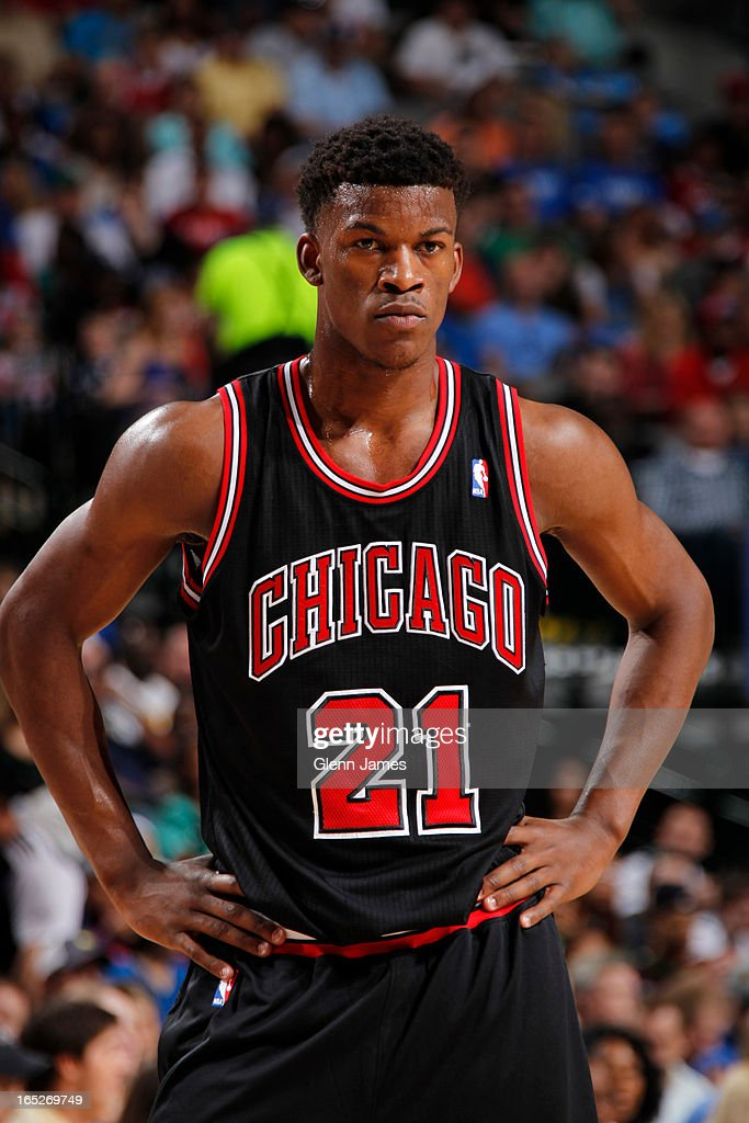 Jimmy Butler #21 of the Chicago Bulls stands on the court during the game against the Dallas Mavericks on March 30, 2013 at the American Airlines Center in Dallas, Texas.