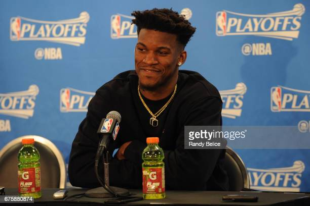 Jimmy Butler of the Chicago Bulls talks to the media during a press conference after Game Six of the Eastern Conference Quarterfinals against the...