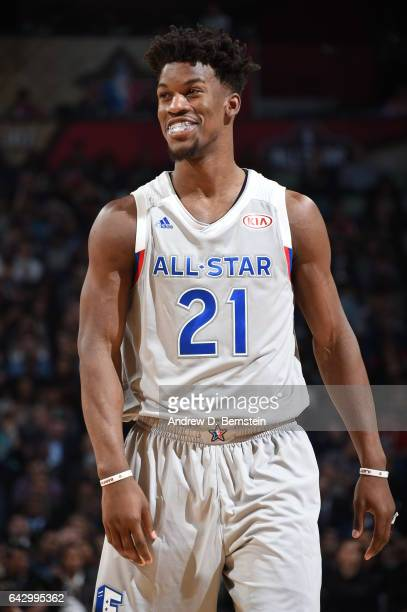 Jimmy Butler of the Eastern Conference AllStar Team smiles during the game against the Western Conference AllStar Team during the NBA AllStar Game as...