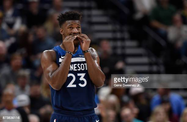 Jimmy Butler of the Minnesota Timberwolves adjusts his mouth guard in the first half against the Utah Jazz at Vivint Smart Home Arena on November 13...