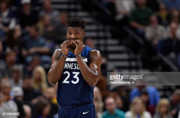 Jimmy Butler of the Minnesota Timberwolves adjusts his mouth guard during their game against the Utah Jazz at Vivint Smart Home Arena on November 13...