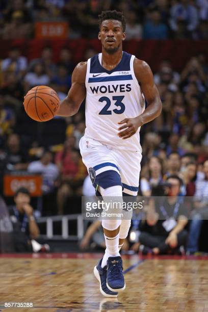Jimmy Butler of the Minnesota Timberwolves dribbles the ball up court against the Golden State Warriors as part of 2017 NBA Global Games China on...