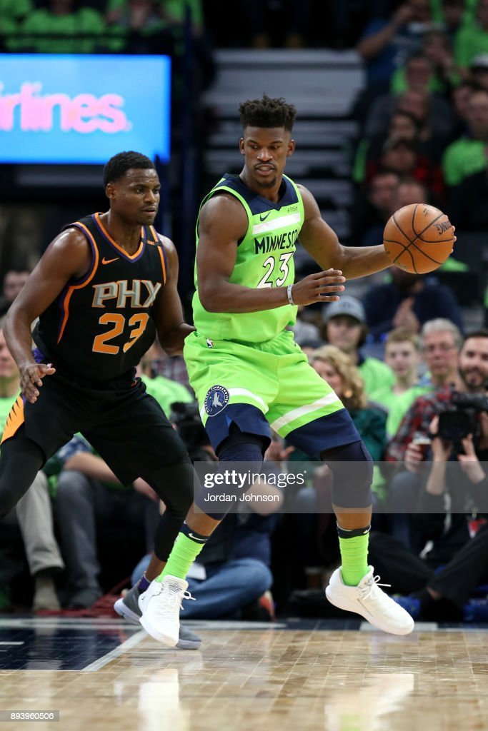 Jimmy Butler #23 of the Minnesota Timberwolves handles the ball against the Phoenix Suns on December 16, 2017 at Target Center in Minneapolis, Minnesota.