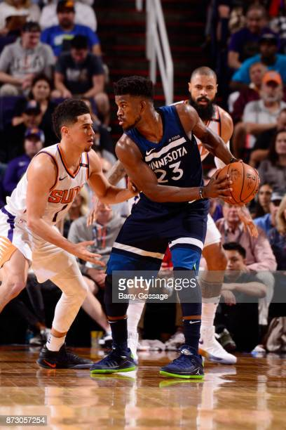 Jimmy Butler of the Minnesota Timberwolves handles the ball during the game against the Phoenix Suns on November 11 2017 at Talking Stick Resort...