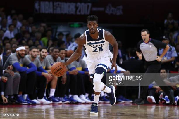 Jimmy Butler of the Minnesota Timberwolves in action during the game between the Minnesota Timberwolves and the Golden State Warriors as part of 2017...