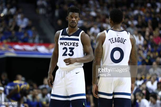 Jimmy Butler of the Minnesota Timberwolves talks to team mate Jeff Teague during the game between the Minnesota Timberwolves and the Golden State...